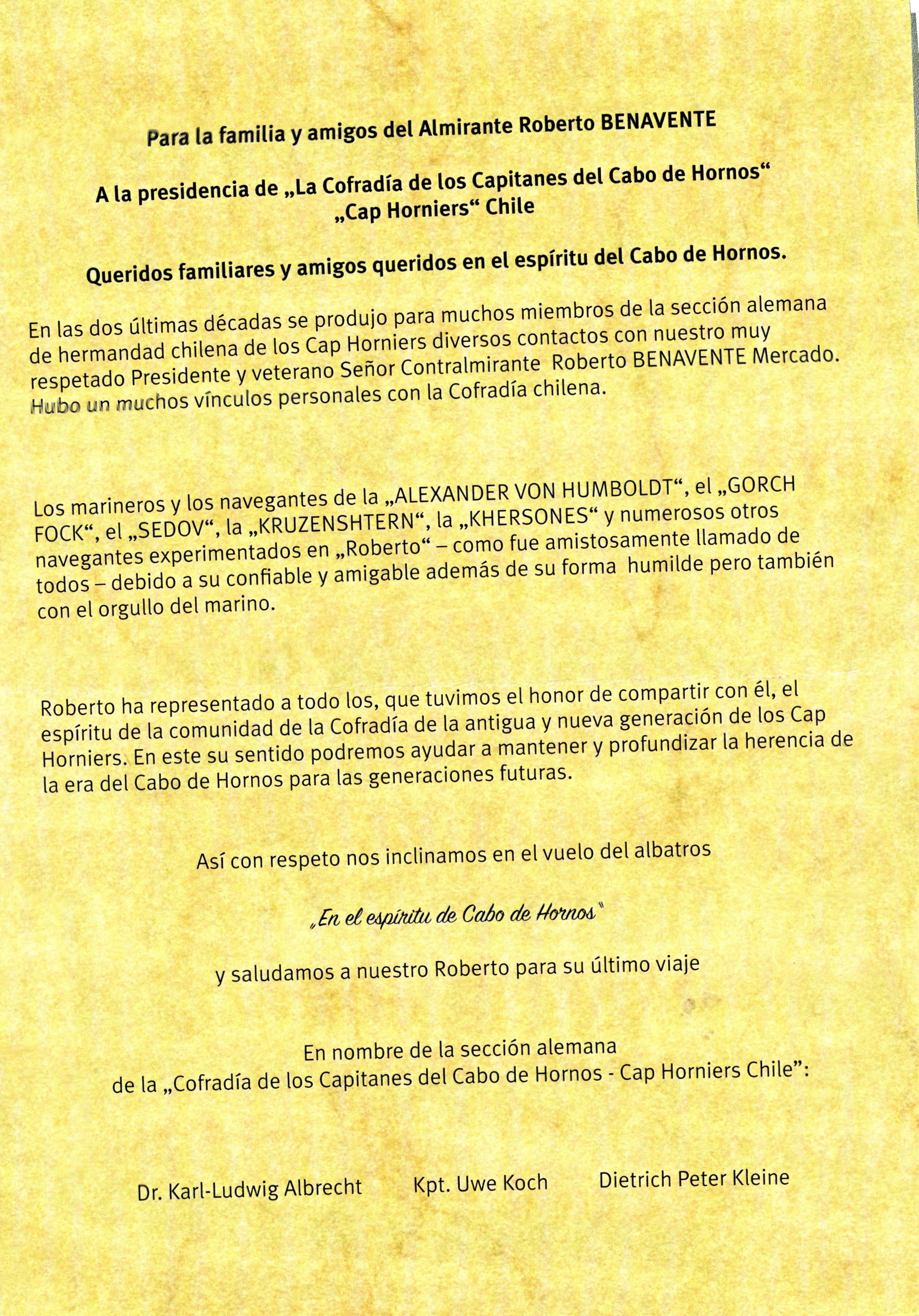 HOMENAJE DE NUESTRA SECCIÓN ALEMANA AL CONTRAALMIRANTE ROBERTO BENAVENTE MERCADO (QEPD)